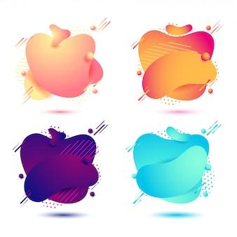 Raccolta di colori fluidi di colore sfumato o astratto bolla liquido