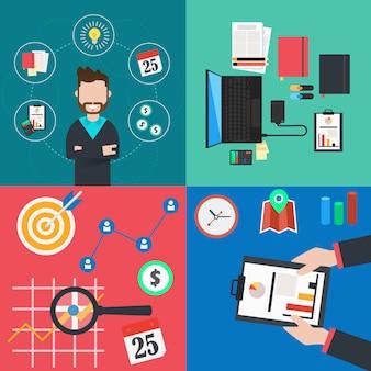 Raccolta di concetti di affari e finanza piatta e colorata. illustrazione vettoriale