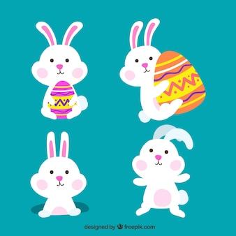Raccolta di coniglietti pasquali disegnati a mano