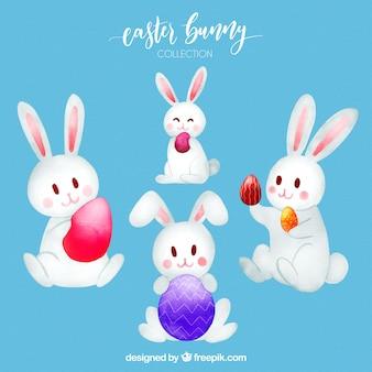 Raccolta di coniglietti pasquali in stile acquerello