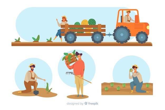 Raccolta di contadini che lavorano