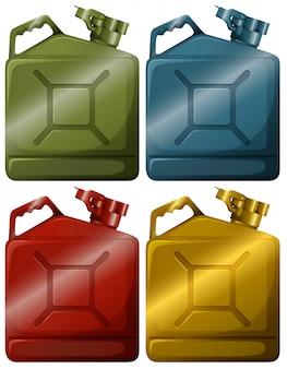Raccolta di contenitori di benzina