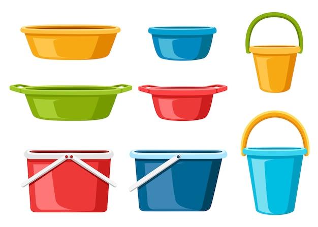 Raccolta di contenitori per l'acqua. secchi d'acqua e bacini. mercato di massa dei prodotti di plastica. illustrazione su sfondo bianco