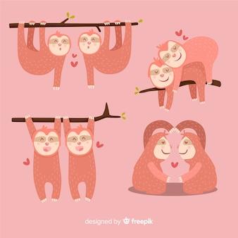 Raccolta di coppie di bradipo di san valentino