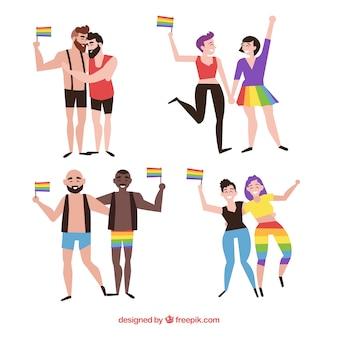 Raccolta di coppie di orgoglio lgbt