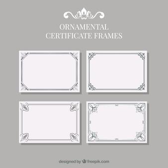 Raccolta di cornici certificato con ornamenti