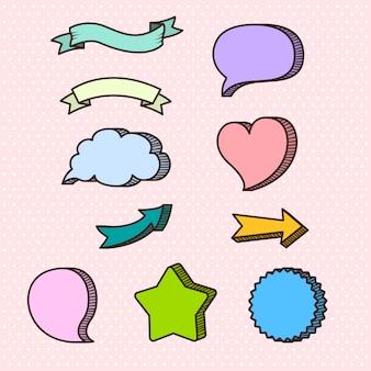 Raccolta di cornici di testo su sfondo rosa