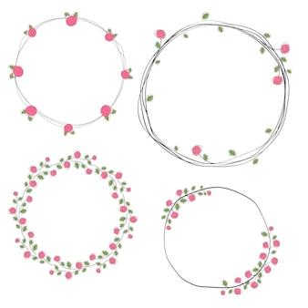 Raccolta di corona di rose doodle di san valentino