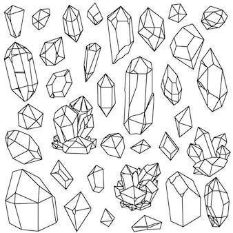 Raccolta di cristalli vector linear