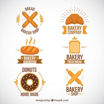 Raccolta di cute logotipo panetteria