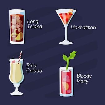 Raccolta di deliziosi cocktail disegnati