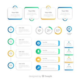 Raccolta di design piatto di elementi di infografica