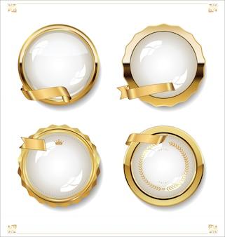 Raccolta di design vintage retrò etichette bianche vuote d'oro