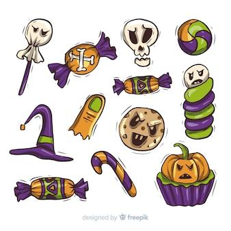 Raccolta di disegnati a mano caramelle di halloween