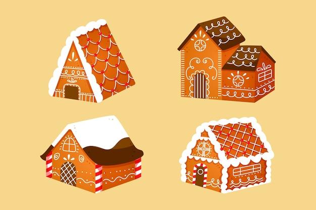 Raccolta di disegnati a mano casa di marzapane
