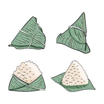 Raccolta di disegnati a mano dragon boat zongzi