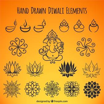 Raccolta di disegnati a mano elementi di diwali etnici