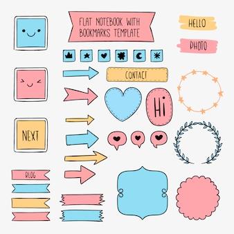 Raccolta di disegnati a mano elemento per notebook