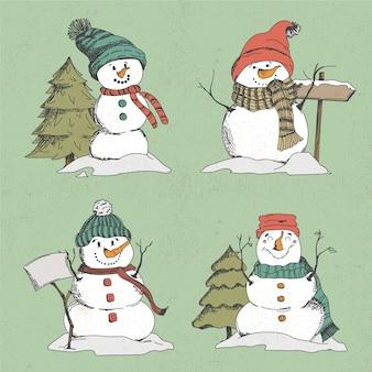 Raccolta di disegnati a mano personaggio pupazzo di neve
