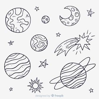 Raccolta di disegnati a mano pianeta in stile doodle
