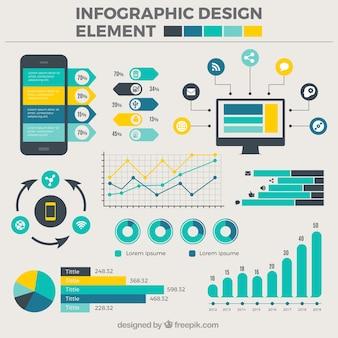 Raccolta di disegni piatte per infografica