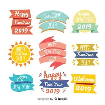 Raccolta di distintivi colorati di nuovo anno