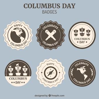 Raccolta di distintivi decorativi per il columbus day