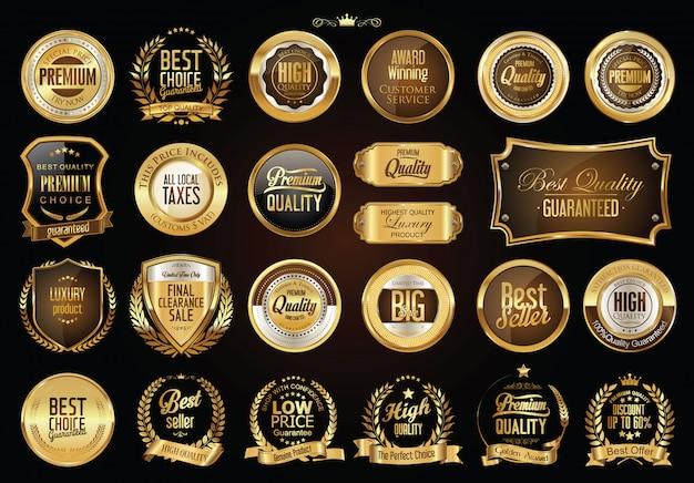 Raccolta di distintivi dorati