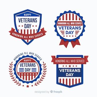 Raccolta di distintivo di giorno dei veterani con noi elementi di bandiera