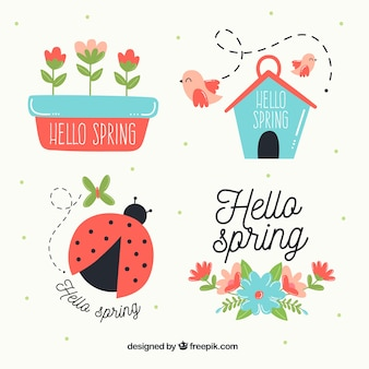 Raccolta di diverse etichette di primavera