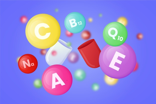 Raccolta di diverse vitamine colorate