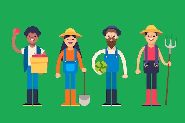 Raccolta di diversi agricoltori attrezzati