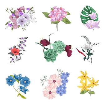 Raccolta di diversi bouquet floreali