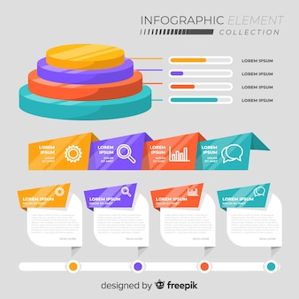 Raccolta di diversi elementi di infografica piatta
