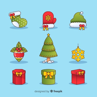Raccolta di diversi elementi natalizi