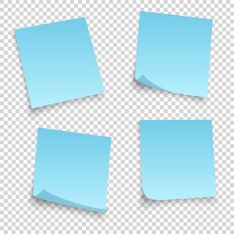 Raccolta di diversi fogli blu. nota di documenti con angolo arricciato isolato su sfondo trasparente.