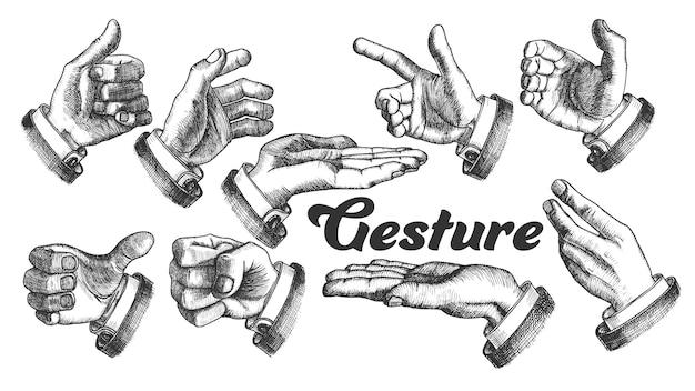 Raccolta di diversi gesti set vintage.