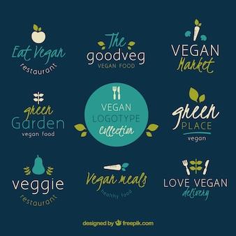 Raccolta di diversi loghi per il cibo vegetariano