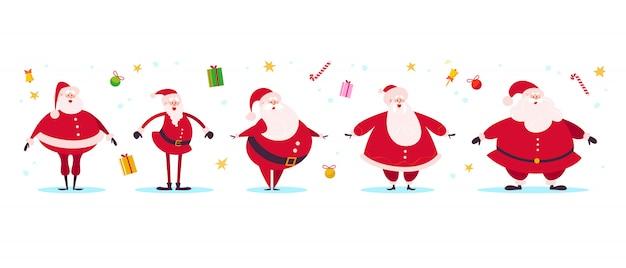 Raccolta di diversi personaggi divertenti piatti di babbo natale isolati su sfondo bianco. contenitore di regalo, campane, palle della decorazione, lecca-lecca, insieme della stella isolato. buono per carte, banner, web, stampe ecc.