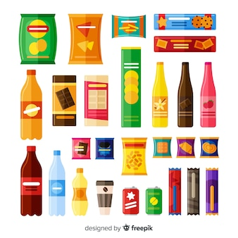 Raccolta di diversi tipi di snack
