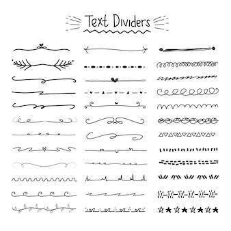 Raccolta di divisori di testo disegnato a mano