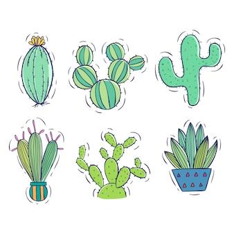 Raccolta di doodle cactus con vaso su bianco