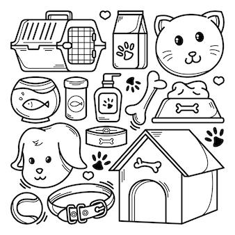 Raccolta di doodle di animali domestici