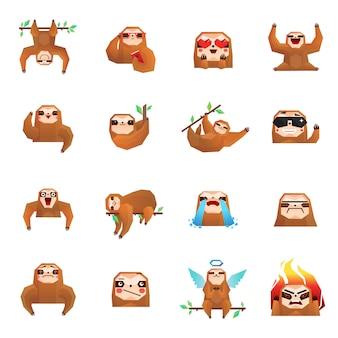 Raccolta di doodle di bradipo dell'albero