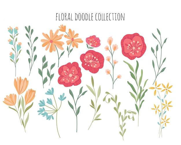 Raccolta di doodle disegnato a mano floreale