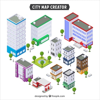 Raccolta di edifici per creare una città