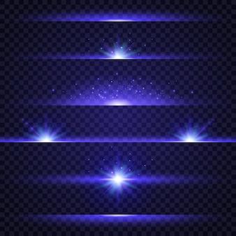 Raccolta di effetti di luce blu su sfondo trasparente