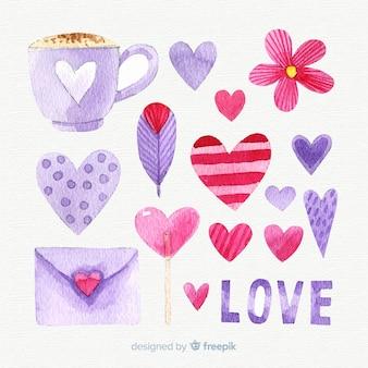Raccolta di elementi acquerello giorno di san valentino