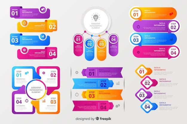 Raccolta di elementi colorati infografica
