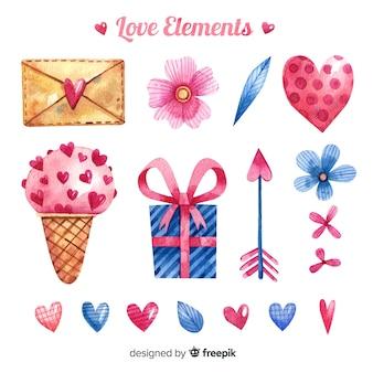Raccolta di elementi d'amore disegnati a mano